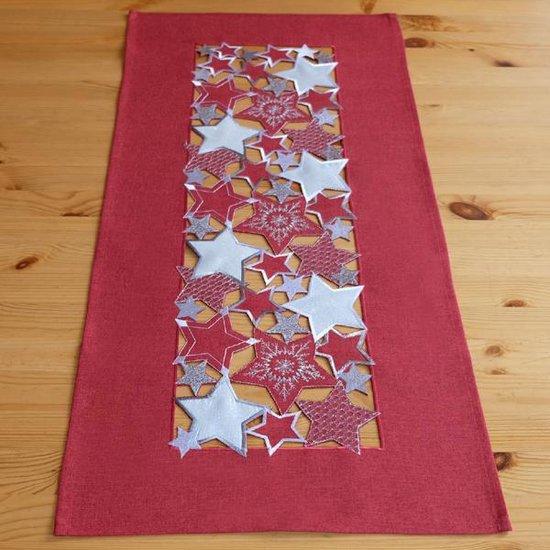 Kerst tafelkleed Rood met witte en zilveren sterren - Vierkant 85 cm - tafelkleedjes.nl