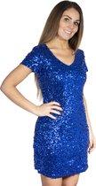 Pailletten jurkje kobalt blauw