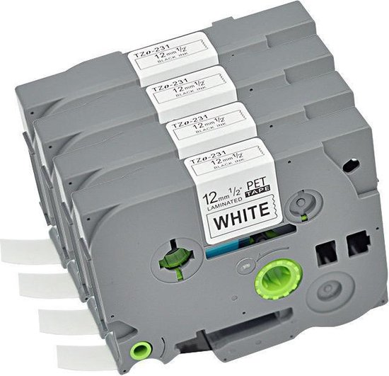 Compatibel Printerlint | 4-Pak Compatible Label Tape TZe231 / TZ231 Zwart op Wit 12mm X 8meter voor Brother P-Touch 6mm-12mm apparaten