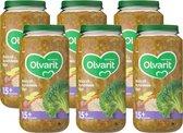 Olvarit 15 maanden - groentehapjes - brocolli rundvlees rijst - 6 x 250 gram