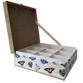 The Box For Tea Vlinder Theedoos met Thee Cadeau - 9 vaks - Bruin