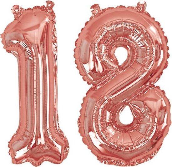 Neviti '18' jubileum cijfer folieballon - rosé goud - Set-1