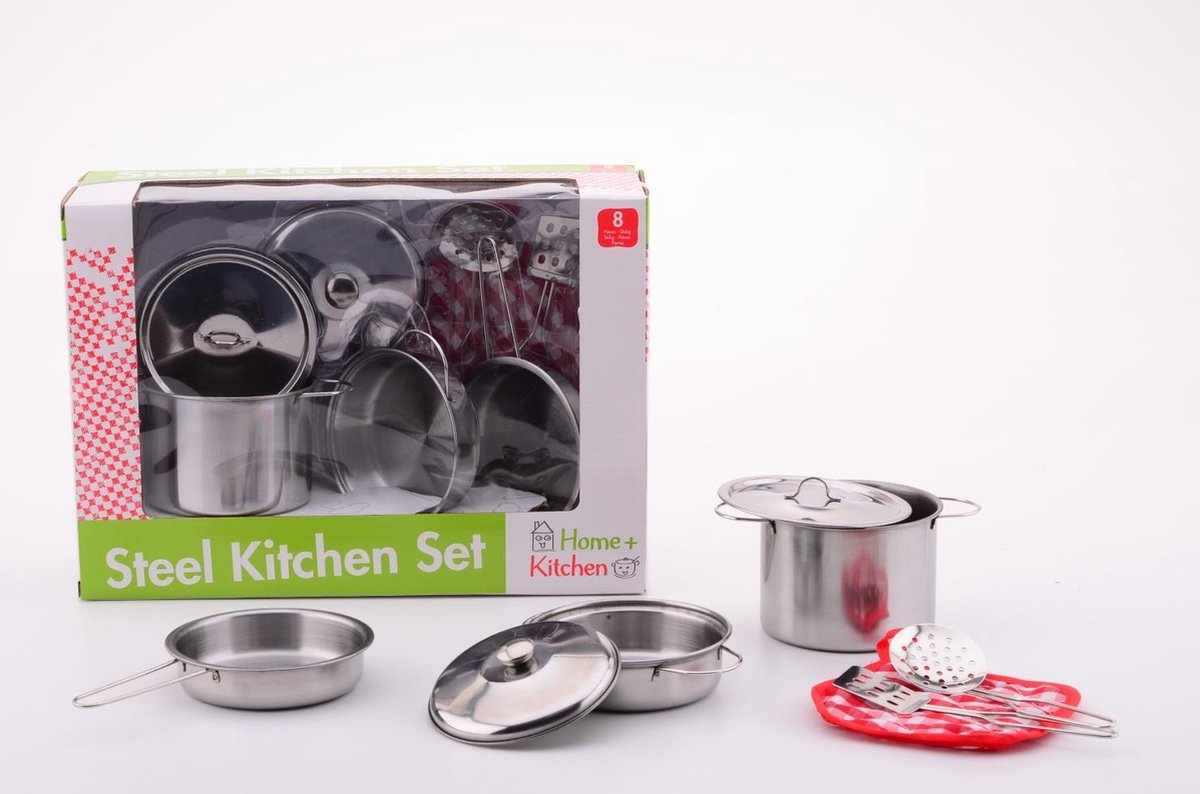 Home and Kitchen Stalen pannenset 8 delig
