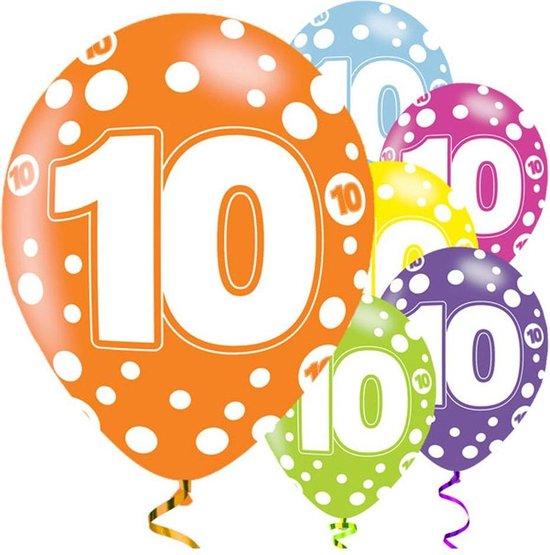 Ballonnen - 10 jaar assorti - 6 stuks