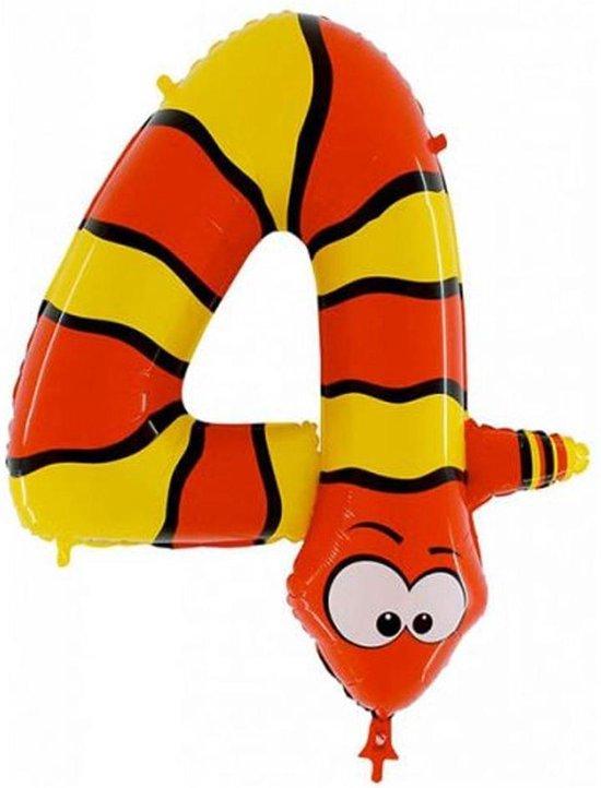 Folieballon '4' Slang - 100 Centimeter