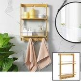 Decopatent® Hangend badkamerrek van bamboe hout - 2 legplanken en 4 handdoekhaakjes - Handdoekenrek - Handdoekenhouder - Wandrek