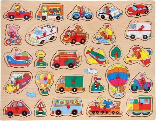 Johntoy houten knopjes puzzel voertuigen