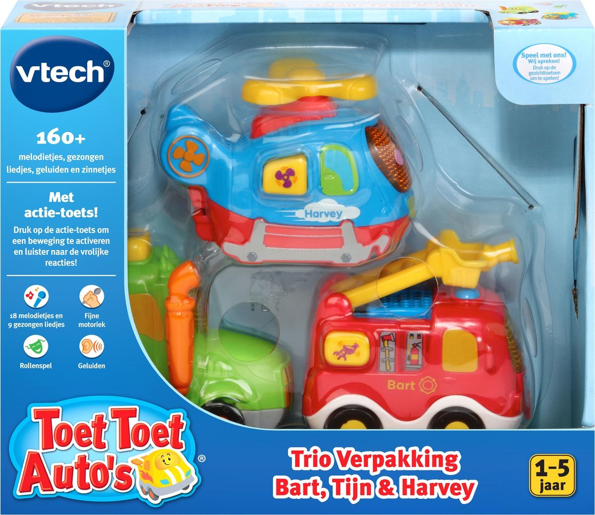 VTechToet Toet Auto's Bart, Tijn & Harvey Trio Verpakking - Educatief Babyspeelgoed