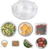 Siliconen vershoud deksels - herbruikbaar vershoudfolie - sealen/vacuum - ecologisch - set van 6 verschillende maten