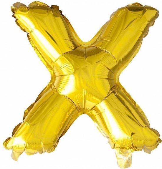 Folie Ballon Letter X Goud 41cm met rietje