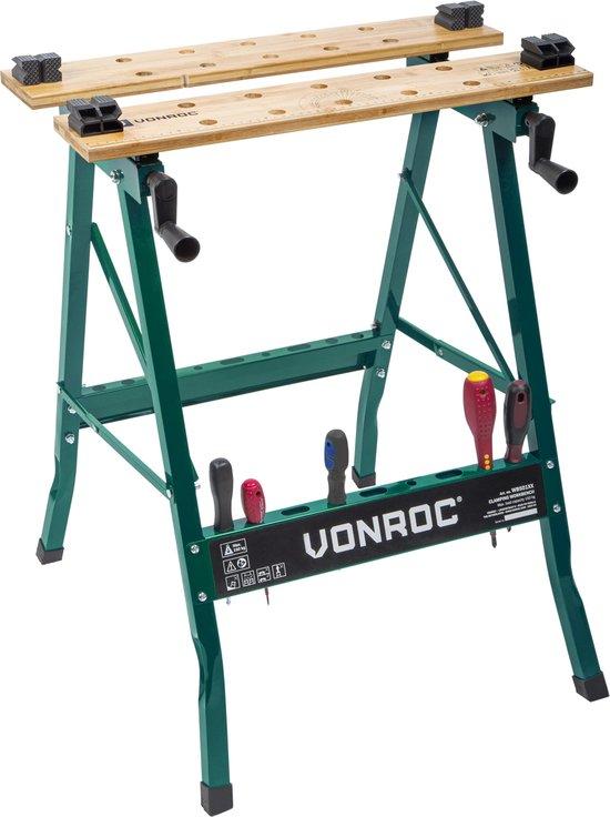 VONROC Werkbank – Voorzien van bamboe werkblad – Opvouwbaar & belastbaar tot 150kg