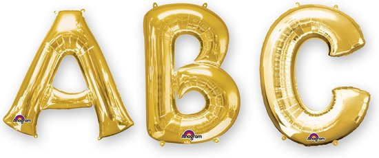 SuperShape Letter F Gold Foil Balloon P50 Packaged 53 x 81cm