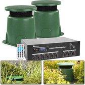 Tuin of terras geluidsinstallatie met twee weerbestendige speakers