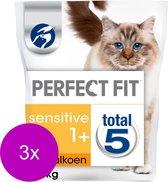 Perfect Fit Droogvoer Sensitive Kalkoen - Kattenvoer - 3 x 1.4 kg