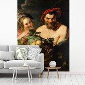 Fotobehang vinyl - Nimf en sater - Schilderij van Peter Paul Rubens breedte 375 cm x hoogte 500 cm - Foto print op behang (in 7 formaten beschikbaar)