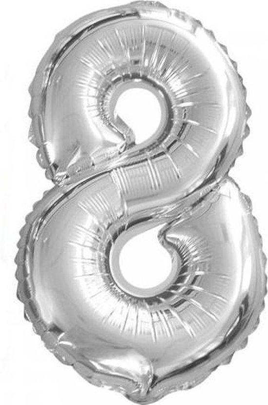 Folieballon nummer 8 zilver (36 cm)