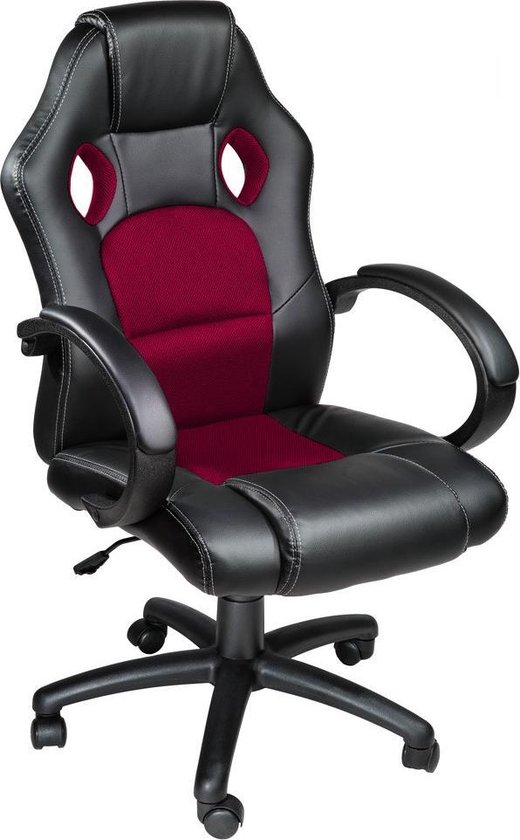 Luxe design bureaustoel racing style Donkerrood zwart 401430