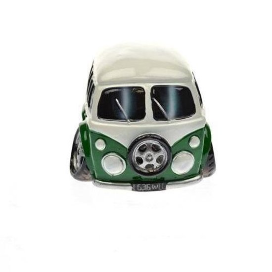 Spaarpot auto type Volkswagen busje in groen en wit