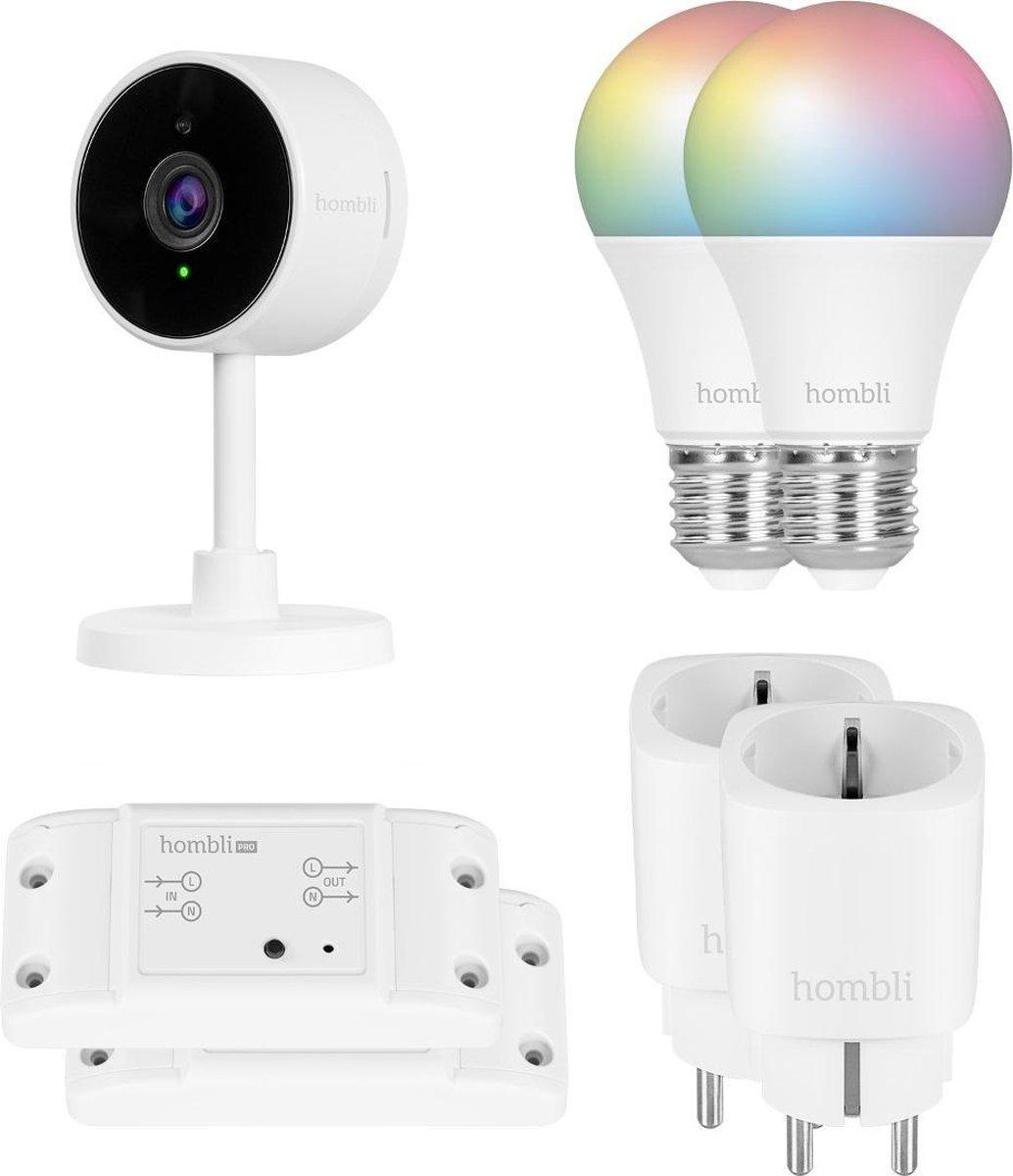 Hombli Starterkit - 2 Smart Lampen Wit & Gekleurd Licht + Slimme Camera + 2 Wifi Schakelaars + 2 Slimme Stekkers