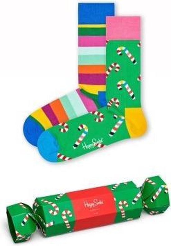 Happy Socks Christmas Cracker Candy Cane Giftbox - 2-pack - Maat 36-40