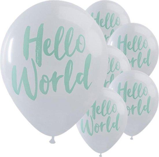 Ginger Ray Hello World babyshower ballon Ø 28 cm - Wit & mint - Set-10