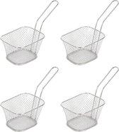 4x Patat/snack serveermandje/frituurmandje zilver 20 cm - Tafeldecoratie - Patat/snack serveren in een mandje