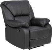 Hela fauteuil in zwart kunstleder met verstelbare rugleuning .