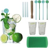 Luxe Mojito Cocktail Maker Set - Met Glazen & Stamper & Rietjes - Cadeauset
