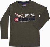 Boys In Control Jongensshirt - Khaki - Maat 92