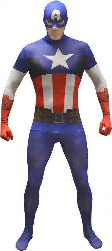 Morphsuits™ Captain America Value Morphsuit - SecondSkin - Verkleedkleding - 176/184 cm