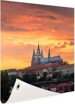 Zonsondergang in Praag Tuinposter 80x120 cm - Tuindoek / Buitencanvas / Schilderijen voor buiten (tuin decoratie)