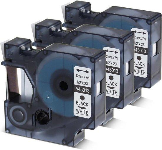 Afbeelding van 3 x Dymo 45013 Zwart op Wit Standaard Label Tapes