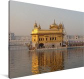 De Gouden Tempel in India Canvas 180x120 cm - Foto print op Canvas schilderij (Wanddecoratie woonkamer / slaapkamer) XXL / Groot formaat!