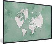 Foto in lijst - Ronde en witte wereldkaart op een lichtblauwe achtergrond fotolijst zwart 60x40 cm - Poster in lijst (Wanddecoratie woonkamer / slaapkamer)