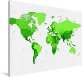 Felgroene wereldkaart Canvas 140x90 cm - Foto print op Canvas schilderij (Wanddecoratie woonkamer / slaapkamer)
