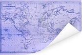 Wereldkaart met magnetic curves en paarse tinten Poster 120x80 cm