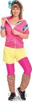 80's Trainingspak Disco Vrouw Neon Roze 3-delig- Verkleedkleding - Maat S/M