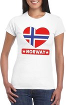 Noorwegen hart vlag t-shirt wit dames S