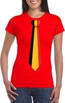 Rood t-shirt met Belgie vlag stropdas dames S