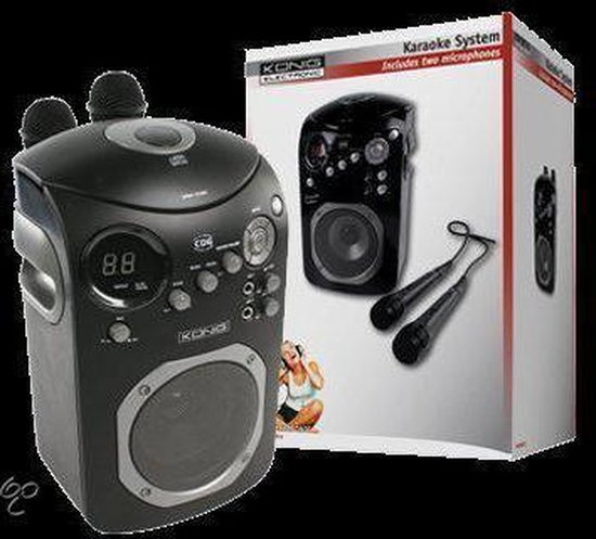König, Karaoke Set met CD Player (Zwart)