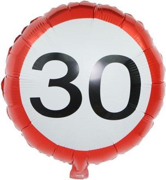 Folie ballon 30 jaar Stopbord | Verkeersbord | Geschikt voor gewone lucht en helium