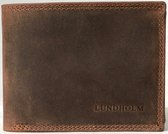 Lundholm Hoogwaardig leren portemonnee heren bruin - billfold model bruin - vaderdag kades - vader cadeautjes