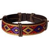 Fako Bijoux® - Armband - Leder - Inka Ruit - Paars