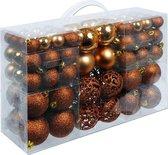 Christmas Kerstballen set - 100 ballen - koper, bruin - plastic