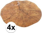 4x ronde placemat boomstam print 38 cm
