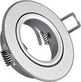 Inbouw spot GU10 - aluminium - rond armatuur - geborsteld - zilver/zilver 95mm