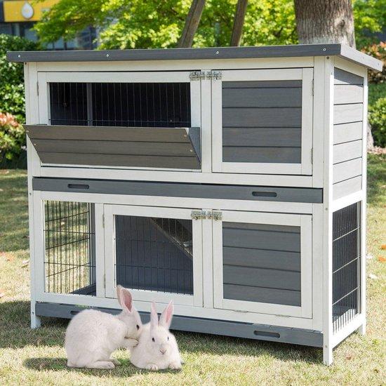 Luxiqo Konijnenhok - Konijnenkooi - Konijnenhok voor buiten - Konijnenren -Konijnenkooi voor buiten - 2 verdiepingen - 120 x 50 x 100.5 cm