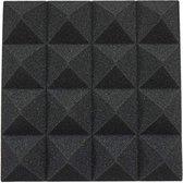 12 Acoustics Studio Treatment Foam DIY Studio Geluidsisolatie Wandtegel Isolatie 25x25x5 cm (Zwart)