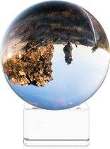 Navaris glazen bol voor fotografie - Fotobol met standaard - Heldere kristallen bal met voet - Lensball Ø 80 mm