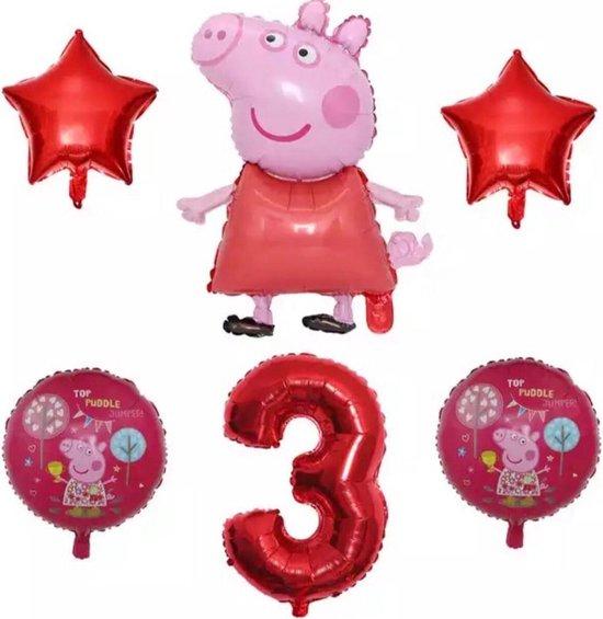 Peppa Pig folie ballonen 6 stuks Decoratie Kinderen Verjaardag Ballon Nummer 3